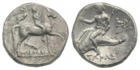 Southern Apulia, Tarentum, c. 272-240 BC. AR Nomos (20mm, 6.48g, 1h). Youth on horseback r.; behind, Nike flying r., crowning him; ΦI to r., APIΣTEIΔ-...