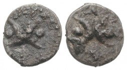 Southern Apulia, Tarentum, c. 280-228 BC. AR Hemiobol (6mm, 0.23g). Two crescents back-to-back; four pellets around. R/ Two crescents back-to-back; tw...