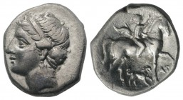 Southern Apulia, Tarentum. Campano-Tarentine series, c. 281-272 BC. AR Didrachm (20mm, 6.99g, 11h). Diademed head of nymph l. R/ Nude youth on horseba...