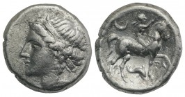 Southern Apulia, Tarentum, Campano-Tarentine series, c. 281-272 BC. AR Didrachm (19mm, 7.15g, 7h). Diademed head of nymph l., wearing triple-pendant e...
