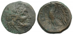 Southern Lucania, The Lucani, c. 209-207 BC. Æ Unit (21mm, 8.27g, 6h). Laureate head of Zeus r. R/ Eagle standing l. with open wings. HNItaly 1451. Ve...