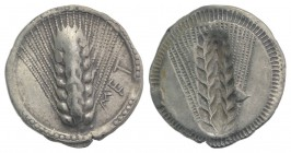 Southern Lucania, Metapontion, c. 540-510 BC. AR Drachm (19mm, 2.66g, 12h). Barley ear. R/ Incuse barley ear. Cf. Noe 81; HNItaly 1468. Good VF