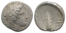 Southern Lucania, Metapontion, c. 325-275 BC. AR Stater (20mm, 7.94g, 11h). Head of Demeter r., wearing grain-ear wreath and earring. R/ Barley ear, l...