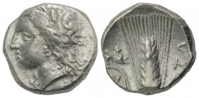 Southern Lucania, Metapontion, c. 330-290 BC. AR Stater (19mm, 7.58g, 6h). Wreathed head of Demeter l. R/ Barley ear with leaf to l.; above leaf, grif...