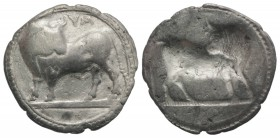 Southern Lucania, Sybaris, c. 550-510 BC. AR Stater (28mm, 7.99g, 12h). Bull standing l. on dotted exergual line, looking back. R/ Incuse bull standin...