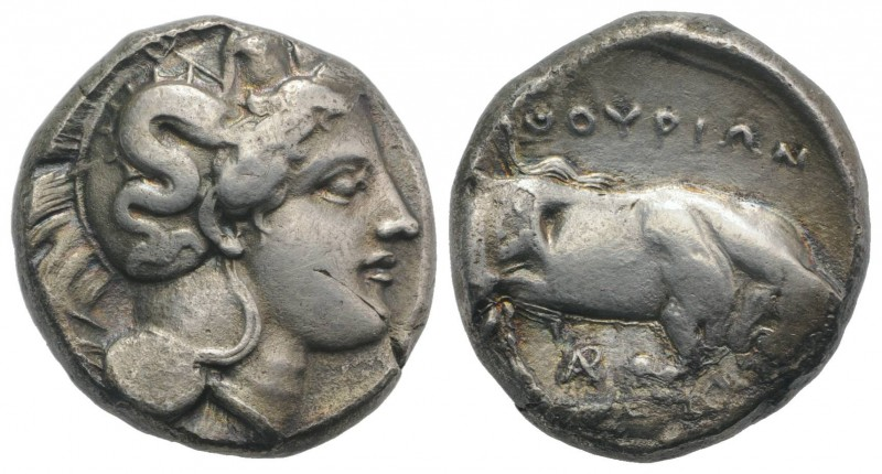 Southern Lucania, Thourioi, c. 350-300 BC. AR Distater (23mm, 14.97g, 12h). Head...