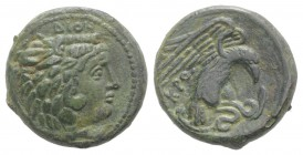 Bruttium, Kroton, c. 350-300 BC. Æ (19mm, 6.26g, 9h). Head of Herakles r., wearing lion skin. R/ Eagle r., alighting on snake. HNItaly 2218; SNG ANS 4...
