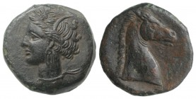 Carthaginian Domain, Sardinia, c. 264-241 BC. Æ (19mm, 5.03g, 11h). Wreathed head of Kore-Tanit l. R/ Head of horse r. Piras 1; SNG Copenhagen (Africa...