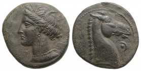 Carthaginian Domain, Sardinia, c. 264-241 BC. Æ (18mm, 4.26g, 9h). Wreathed head of Kore-Tanit l. R/ Head of horse r., pellet and crescent before. Pir...