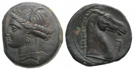 Carthaginian Domain, Sardinia, c. 264-241 BC. Æ (20mm, 4.99g, 9h). Wreathed head of Kore-Tanit l. R/ Head of horse r., letter before. Piras 44; SNG Co...