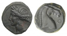 Carthaginian Domain, Sardinia, c. 264-241 BC. Æ (19mm, 5.72g, 11h). Wreathed head of Kore-Tanit l. R/ Head of horse r.; letter before. Piras 54; SNG C...