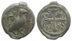 Sicily, Agyrion, c. 440-420 BC. Æ Hemilitron (26.5mm, 13.07g). Eagle standing l.; olive-sprig above. R / Wheel of four spokes. CNS III, 21; HGC 2, 49;...