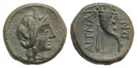 Sicily, Aitna, c. 208-205 BC. Æ Sextans (14mm, 3.04g, 12h). Head of Persephone r., wearing wreath of grain ears. R/ Filleted cornucopia. CNS III, 11; ...