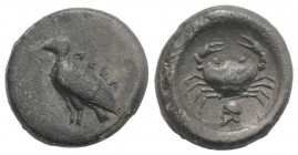 Sicily, Akragas, c. 495-480/78 BC. AR Didrachm (20mm, 8.24g, 9h). Sea eagle standing l. R/ Crab; below, helmet l.; all within shallow incuse circle. W...