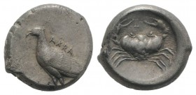 Sicily, Akragas, c. 495-480/78 BC. AR Didrachm (20mm, 8.73g, 7h). Sea eagle standing l. R/ Crab within shallow incuse circle. Westermark, Coinage, Gro...