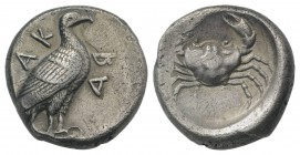 Sicily, Akragas, c. 480/478-470 BC. AR Didrachm (19.5mm, 8.39g, 12h). Sea eagle standing r. R/ Crab. Westermark, Coinage, Group IV, 292 (O93/R194); HG...