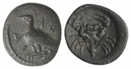 Sicily, Akragas, c. 425-406 BC. AR Litra (10mm, 0.78g, 7h). Eagle standing l. on capital. R/ Crab; lotus flower. SNG ANS 986-95; HGC 2, 121. Dark pati...