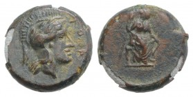 Sicily, Athl-, c. 344-339 BC. Æ (13mm, 3.15g, 9h). Helmeted head of Athena r. R/ Female figure seated r., holding trident(?) in r. hand, grounded bow ...