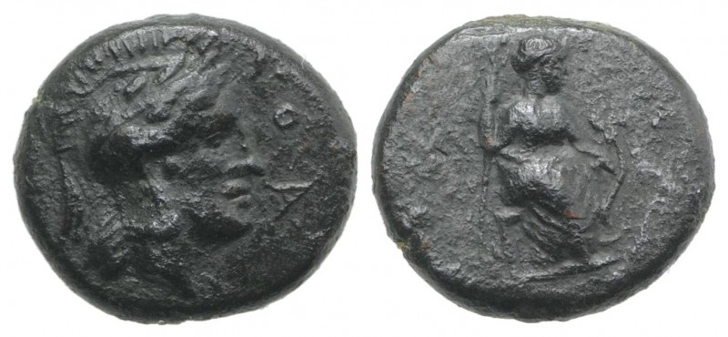 Sicily, Athl-, c. 344-339 BC. Æ (13mm, 2.54g, 6h). Helmeted head of Athena r. R/...