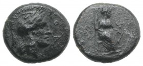 Sicily, Athl-, c. 344-339 BC. Æ (13mm, 2.54g, 6h). Helmeted head of Athena r. R/ Female figure seated r., holding trident(?) in r. hand, grounded bow ...