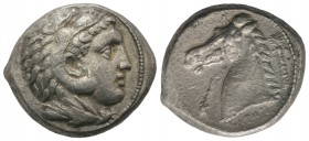 Sicily, Entella. Punic domain, c. 300-289 BC. AR Tetradrachm (25mm, 17.40g, 6h). Head of Herakles r., wearing lion skin. R/ Head of horse l.; club to ...