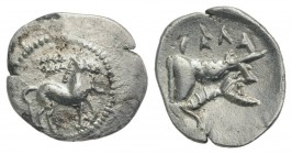 Sicily, Gela, c. 465-450 BC. AR Litra (12mm, 0.62g, 3h). Horse advancing r.; wreath above. R/ Forepart of man-headed bull r. Jenkins, Gela, Group III;...