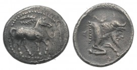Sicily, Gela, c. 465-450 BC. AR Litra (11mm, 0.85g, 9h). Horse advancing r.; wreath above. R/ Forepart of man-headed bull r. Jenkins, Gela, Group III;...