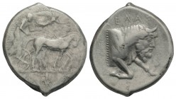Sicily, Gela, c. 430-425 BC. AR Tetradrachm (29mm, 17.09g, 6h). Charioteer driving quadriga r.; above, [Nike flying r., crowning horses]. R/ Forepart ...