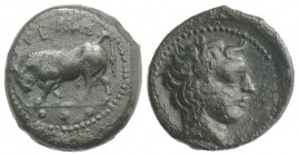 Sicily, Gela, c. 420-405 BC. Æ Tetras (17mm, 4.20g, 9h). Bull standing l., head lowered; three pellets in exergue. R/ Head of horned river god r. CNS ...