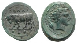 Sicily, Gela, c. 420-405 BC. Æ Tetras (17mm, 3.66g, 12h). Bull standing l., head lowered; three pellets in exergue. R/ Head of horned river god r.; ba...