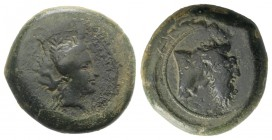 Sicily, Herbessos, 339/8-336 BC. Æ Hemilitron (27mm, 19.25g, 11h). Wreathed head of female (Sikelia?) r. R/ Forepart of man-headed bull r. CNS III, 5 ...