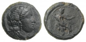 Sicily, Herbita, c. 350 BC. Æ (12mm, 1.55g, 11h). Female head r., wearing earrings and necklace. R/ Apollo seated r. on capital, holding bow. CNS I, -...