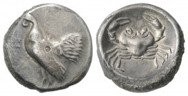 Sicily, Himera, c. 483-472 BC. AR Didrachm (20mm, 8.37g, 10h). Cock standing l. R/ Crab. SNG ANS 163; HGC 2, 438. Toned, VF / Good VF
