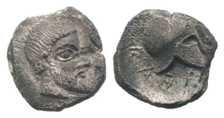 Sicily, Himera, c. 430 BC. AR Litra (8mm, 0.57g, 8h). Bearded head r., wearing t...