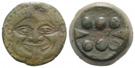 Sicily, Himera, c. 430-420 BC. Æ Hemilitron (26mm, 25.96g). Facing gorgoneion with protruding tongue and furrowed cheeks. R/ Six pellets. CNS I, 19; H...