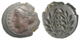 Sicily, Himera, c. 420-407 BC. Æ Hemilitron (18mm, 4.13g, 9h). Head of nymph l.; six pellets before. R/ Six pellets within wreath. CNS I, 35; SNG ANS ...