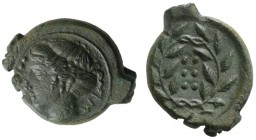 Sicily, Himera, c. 420-407 BC. Æ Hemilitron (18.5mm, 4.33g, 3h). Head of nymph l.; six pellets before. R/ Six pellets within wreath. CNS I, 35; SNG AN...