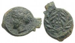 Sicily, Himera, c. 420-407 BC. Æ Hemilitron (20mm, 4.76g, 12h). Head of nymph l.; six pellets before. R/ Six pellets within wreath. CNS I, 35; SNG ANS...