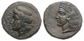 Sicily, Himera as Thermai Himerensis, c. 367-350 BC. Æ Hemilitron (21mm, 7.63g, 6h). Head of Hera l., wearing ornate polos; star to r. R/ Head of Hera...