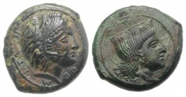 Sicily, Himera as Thermai Himerensis, c. 4th-3rd century BC. Æ (15mm, 3.54g, 3h). Head of Hera r. with stephane. R/ Head of Herakles in lion's skin r....