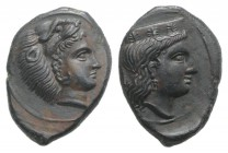 Sicily, Himera as Thermai Himerensis, c. 4th-3rd century BC. Æ (15mm, 1.86g, 12h). Head of Hera r. with stephane. R/ Head of Herakles in lion's skin r...