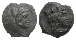 Sicily, Himera as Thermai Himerensis, c. 4th-3rd century BC. Æ (13mm, 2.30g, 12h). Head of Hera r. with stephane. R/ Head of Herakles in lion's skin r...