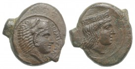 Sicily, Himera as Thermai Himerensis, c. 4th-3rd century BC. Æ (14mm, 3.00g, 6h). Head of Hera r. with stephane. R/ Head of Herakles in lion's skin r....