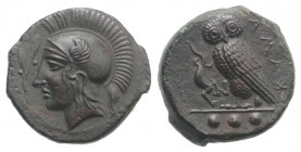 Sicily, Kamarina, c. 420-410 BC. Æ Tetras (15mm, 3.52g, 1h). Head of Athena l., wearing crested Corinthian helmet; olive spray before. R/ Owl standing...