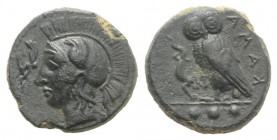 Sicily, Kamarina, c. 420-410 BC. Æ Tetras (14mm, 3.28g, 3h). Head of Athena l., wearing crested Corinthian helmet; olive-spray before. R/ Owl standing...