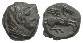 Sicily, Kephaloidion, 4th century BC. Æ (11mm, 2.42g, 2h). Head of Herakles r., wearing lion skin. R/ Pegasos flying r. CNS I, 3; SNG ANS 1320; HGC 2,...