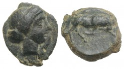 Sicily, Kimissa, c. 317-305 BC. Æ (12mm, 1.93g, 7h). Wreathed head of Persephone r. R/ Bull charging r. CNS III, 1; SNG ANS –; HGC 2, 658. Very Rare, ...