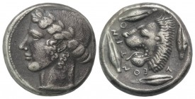 Sicily, Leontini, c. 440-430 BC. AR Tetradrachm (24mm, 16.82g, 9h). Laureate head of Apollo l. R/ Head of lion with open jaws l.; around, four barley ...