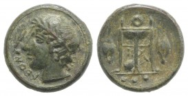 Sicily, Leontini, c. 405-402 BC. Æ Tetras (13mm, 2.51g, 10h). Laureate head of Apollo l.; ivy leaf with berry to l. R/ Tripod; barley grains flanking,...