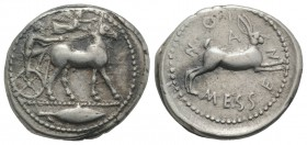 Sicily, Messana, 478-476 BC. AR Tetradrachm (29mm, 17.22g, 7h). Charioteer, holding kentron in l. hand and reins in both, driving slow biga of mules r...
